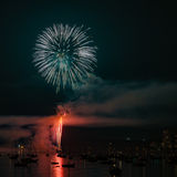Colorful bright firework at night at summer time. stock photos