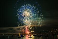 Colorful bright firework at night at summer time. royalty free stock photos