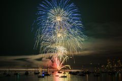 Colorful bright firework at night at summer time. stock photo