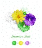 Colorful bright flower banner. Dots in flowers shape on white background. Digital pointillism Royalty Free Stock Image