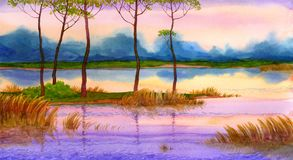 Spring sunrise scene. Colorful bright hand drawn watercolour sketch drawing on paper backdrop with space for text on glowing heaven. Quiet gentle romantic Royalty Free Stock Image