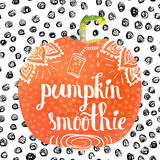 Colorful bright hand lettering poster pumpkin vegetable smoothies. Vector Royalty Free Stock Images