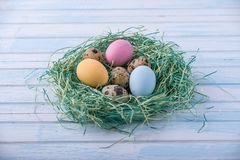 Colorful bright hand painted Easter eggs in a nest. Holiday spring card. Colorful bright hand painted Easter eggs in a nest on a blue background. Holiday spring Stock Image