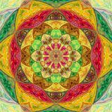 Colorful bright illustrated tile floral mandala. Colorful bright illustrated tile mandala Royalty Free Stock Photo