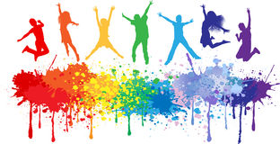 Colorful bright ink splashes and kids jumping. On white background vector illustration