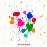 Colorful bright ink splashes over white Royalty Free Stock Photo
