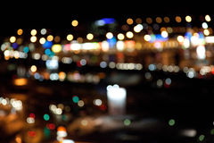 Colorful bright lights on dark night background Stock Photography