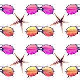 Colorful bright lovely comfort summer beach pattern of colorful sunglasses and starfishes watercolor. Hand illustration Stock Photo
