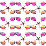 Colorful bright lovely comfort summer beach pattern of colorful sunglasses and starfishes. Watercolor hand illustration Royalty Free Stock Photos