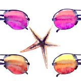 Colorful bright lovely comfort summer beach pattern of colorful sunglasses and starfishes watercolor. Hand illustration Royalty Free Stock Images