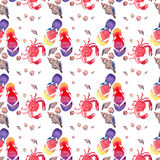 Colorful bright lovely comfort summer pattern of beach flip flops red crabs pastel cute seashells watercolor. Hand illustration Royalty Free Stock Images