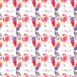 Colorful bright lovely comfort summer pattern of beach flip flops red crabs pastel cute seashells watercolor hand. Illustration Stock Photo