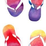 Colorful bright lovely comfort summer pattern of beach yellow orange pink red blue purple flip flops watercolor. Hand illustration Royalty Free Stock Photos