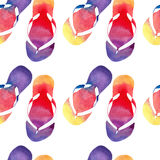Colorful bright lovely comfort summer pattern of beach yellow orange pink red blue purple flip flops watercolor Royalty Free Stock Image