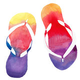 Colorful bright lovely comfort summer pattern of beach yellow orange pink red blue purple flip flops Royalty Free Stock Image