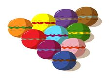 Colorful bright macaroons. Drawn in the vector, delicious pastries, confectionery Vector Illustration