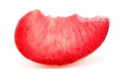 Colorful bright macro closeup slice of pluot apricot plum fruit Royalty Free Stock Photos