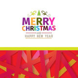 Colorful bright Merry Christmas  greeting card. Made with various color for each letter. Happy New Year wish greeting.Colorful background. Clean design Stock Photography
