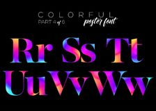 Colorful Bright Neon Typeset. Electric Pink, Purple, Blue Colors Stock Images