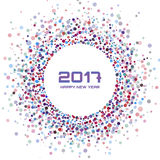 Colorful Bright New Year 2017 confetti circle frame Background. Stock Photography
