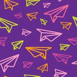 Colorful and Bright Origami Paper Planes Seamless Pattern on Purple royalty free illustration