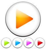 Colorful, bright play buttons. Royalty Free Stock Photo