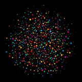 Colorful bright rainbow colors circle confetti rounds paper isolated on black background. Royalty Free Stock Photography