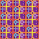 Colorful bright repeating pattern of circles and squares. Intersecting. multiple layers interacting patterns for creative backgrounds, surface, textile and Stock Image