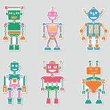 Colorful bright retro vector robots stickers collection Royalty Free Stock Image