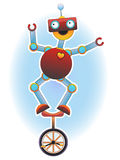 Colorful Bright Robot balancing on unicycle Royalty Free Stock Images