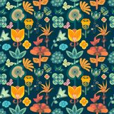 Colorful bright garden floral seamless pattern tile with whimsical flowers over dark background stock illustration