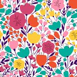 Colorful and bright seamless pattern with leaves and flowers vector illustration