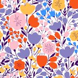 Colorful and bright seamless pattern with leaves and flowers royalty free illustration