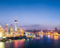 Colorful bright shanghai by nightfall Royalty Free Stock Photo
