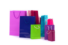Colorful and bright shopping packages for gifts and presents stock image