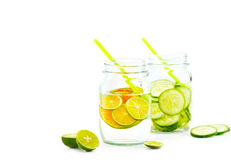 Colorful and bright style, Infused detox water, Detox diet lemon and cucumber on white background, blank text, soft focus Royalty Free Stock Photos