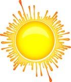 Colorful bright Sun symbol in inkblot style.  royalty free illustration