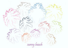 Colorful bright sunny beach palm trees Royalty Free Stock Images