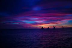 Colorful bright sunset on the island Boracay, Stock Photos