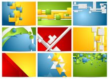 Colorful bright technology backgrounds set Stock Image