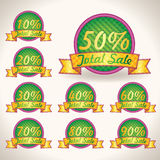 Colorful Bright Total Sale tags with Sale text. illustration tips for business artwork Royalty Free Stock Photo