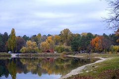 Colorful bright transparent autumn on lake stock photo