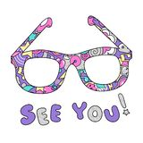 Colorful bright trendy art glasses. Background for kid clothes, textile and fabric vector illustration