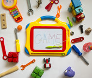 Colorful, bright, various toys of rubber and plastic with a magi Royalty Free Stock Photography