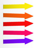 Colorful bright vector arrows banner, directional sign inserted into white cut paper Royalty Free Stock Image