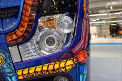 Colorful and brightful front headlight. Mercedes colorful and brightful front massive headlight Royalty Free Stock Photos