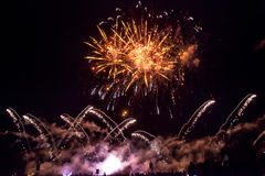A colorful brightly shining firework Royalty Free Stock Photography
