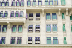 Colorful British colonial style windows from Singapore Stock Image