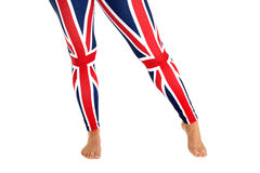Colorful Brittish flag leggings worn by a female model Royalty Free Stock Photo