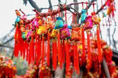 Colorful brocaded sachets Stock Photo